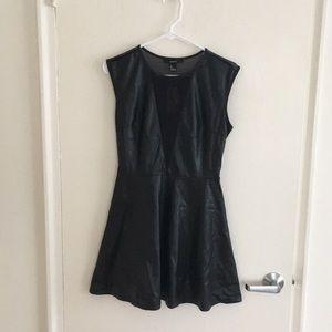 Black faux leather skater dress